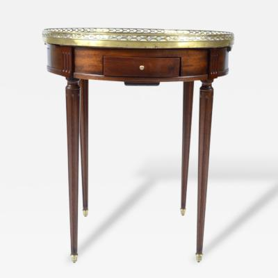 French Louis XVI Style Mahogany Marble Top Bouillotte Table