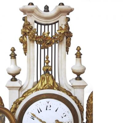 French Louis XVI Style Marble and Gilt Bronze Lyre Form Clock