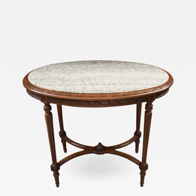 French Louis XVI Style Oval Marble Top Oak Center Table