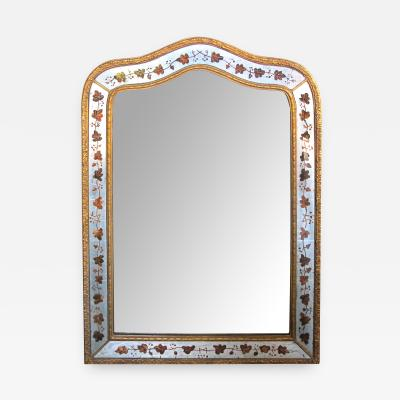 French Maison Jansen 1940s Eglomise and Giltwood Mirror