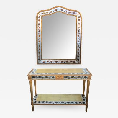 French Maison Jansen Hollywood Regency Console Table and Mirror