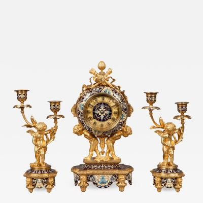 French Mantle Clock Garniture in the Louis XVI Manner