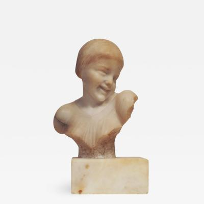 French Marble Bust of a Laughing Child 1920s