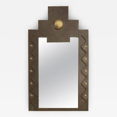 French Metal Brutalist Wall Mirror with Gilt Detail
