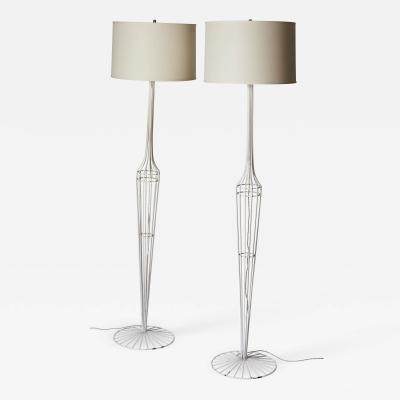 French Metal Floor Lamp Duo in the style of Jean Roy re
