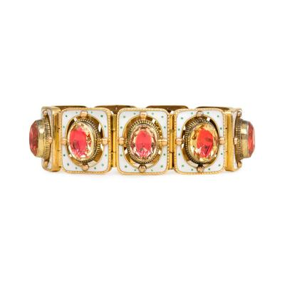 French Mid 19th Century Gold Citrine and Enamel Bracelet