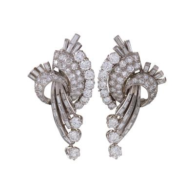 French Mid 20th Century Diamond and Platinum Earrings