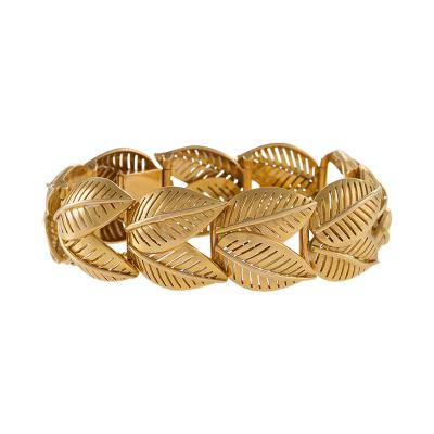 French Mid 20th Century Gold Leaf Link Bracelet