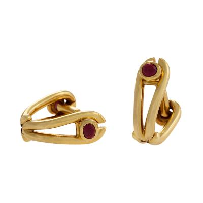 French Mid 20th Century Gold and Ruby Stirrup Cuff Links