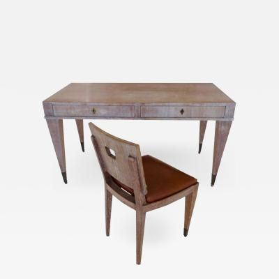 French Mid Century Cerused Oak Writing Desk and Chair