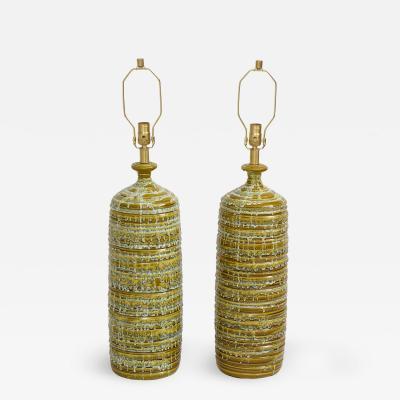 French Mid Century Drip Glaze Ceramic Lamps