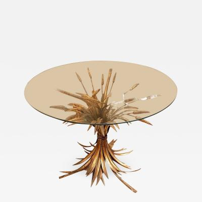 French Mid Century Modern Gilt Metal Wheat Sheaf Table