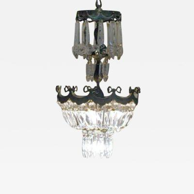 French Mid Century Modern Neoclassical Crystal and Silvered Bronze Chandelier