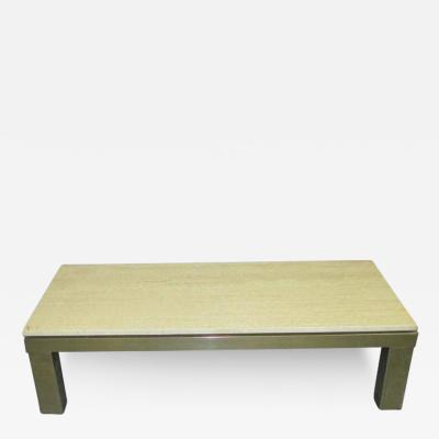 French Mid Century Modern Travertine Top Coffee Table on Brass Base