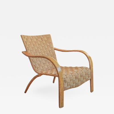 French Mid Century Rope Chair And Ottoman