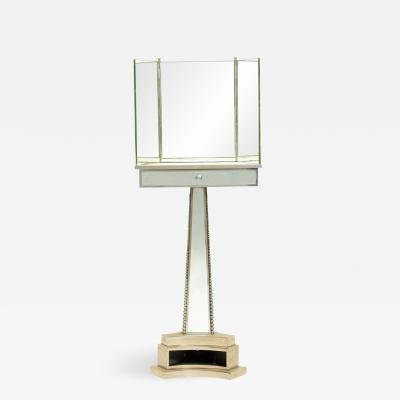 French Mid Century Triptych Chrome Shaving Dressing Mirror