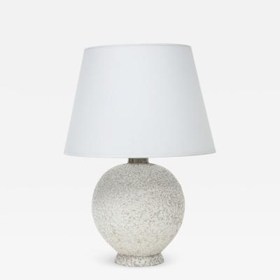 French Mid Century White Ceramic Lamp w Parchment Shade France 1950