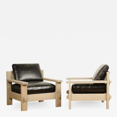 French Mid Century large club chairs in solid oak original leather cushions