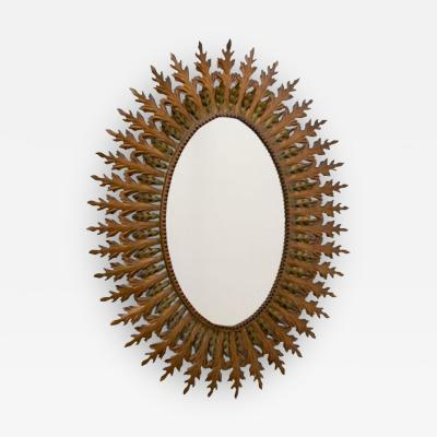 French Midcentury Patinated Brass Framed Mirror with oak leaf design