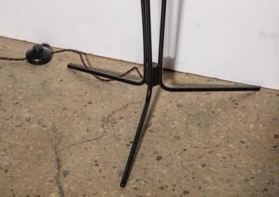 French Modern Black Tripod Floor Lamp with Three White Budlike Shades 1950s