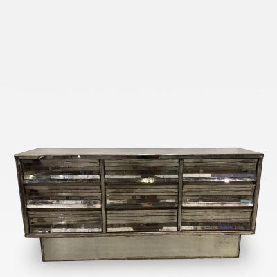 French Modern Mercury Glass Mirrored 9 Drawer Chest 1940s