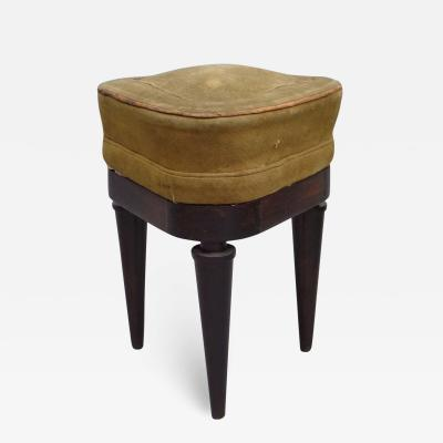 French Modern Neoclassical Mahogany and Suede Tri Corner Stools Andre Arbus