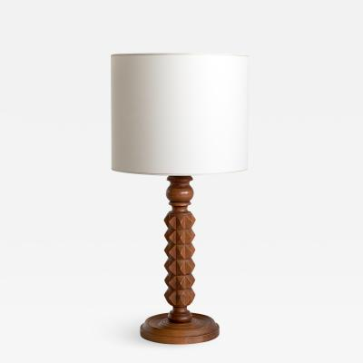 French Modern Table Lamp in Oak with Ivory Shade 1950s