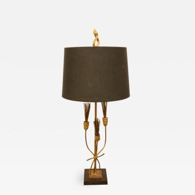 French Modernist Bronze and Marble Lamp