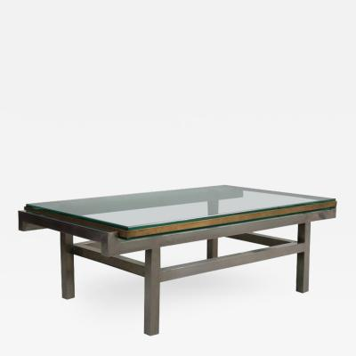 French Modernist Coffee Table in Steel and Brass 1960