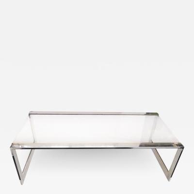 French Modernist Glass Brass Chrome Coffee Table