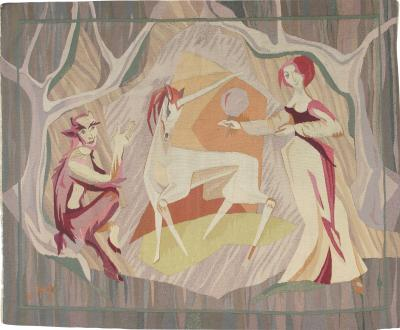 French Modernist Tapestry measuring 4 ft 4 in x 5 ft 4 in