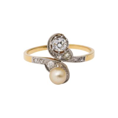 French Moi et Toi Natural Pearl and Diamond Ring