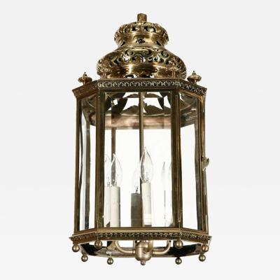 French Moorish Gilt Brass and Glass Hall Lantern