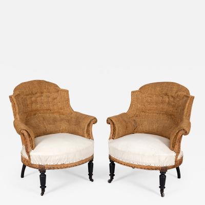 French Napoleon III Arched Back Armchairs A Pair