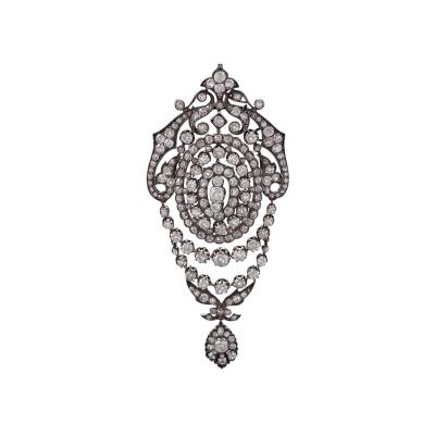 French Napoleon III Diamond Silver and Gold Brooch
