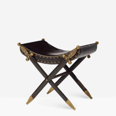 French Neoclassical Steel Brass and Leather Crossed Swords Bench