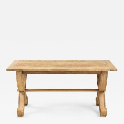 French Oak Table with Scrolled Legs Round Dowel Stretcher Cross Legs France