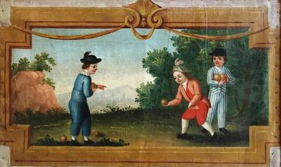 French Oil On Canvas Boys Playing Boules 18th Century