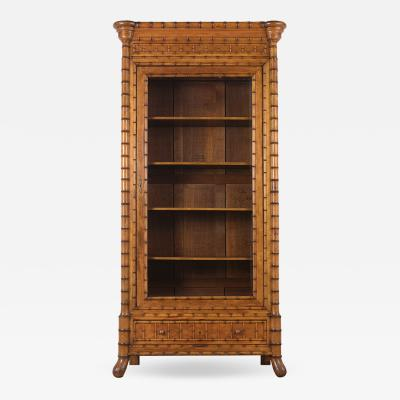 French One Door Bamboo Bookcase 19th Century