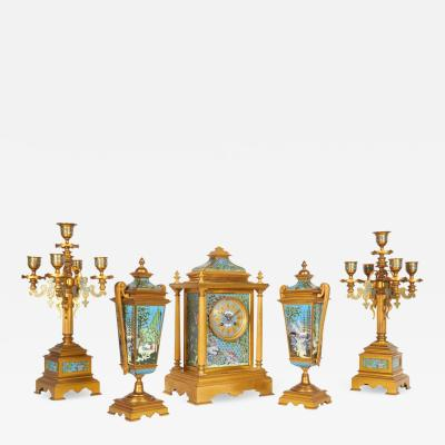 French Ormolu Bronze Cloisonne Champleve Enamel Five Piece Clock Garniture Set