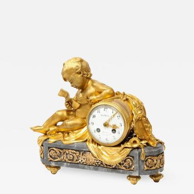 French Ormolu Mounted Bleu Turquin Marble Figural Clock by Maison Mottheau