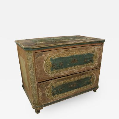 French Painted and Shaped Two Drawer Commode
