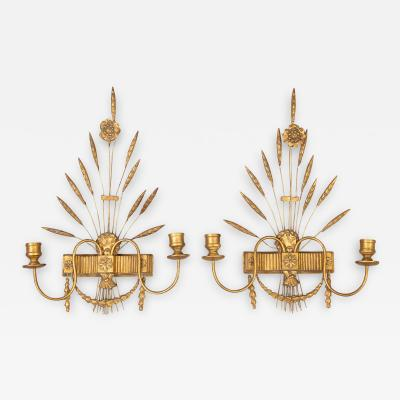 French Pair Gilded Wall Sconces