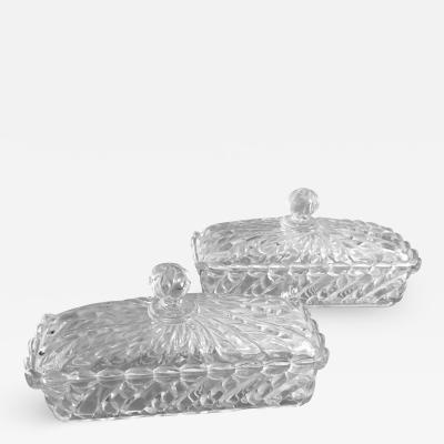 French Pair of Saint Louis Glass Butter Boxes
