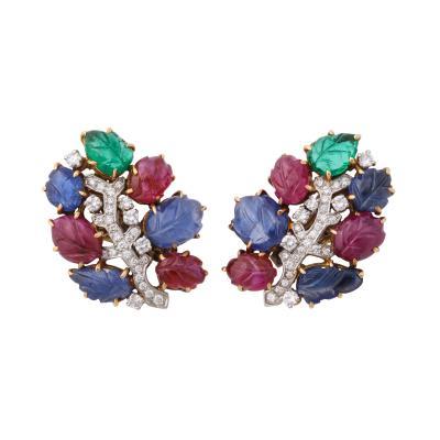 French Pair of Tutti Frutti Clip Earrings