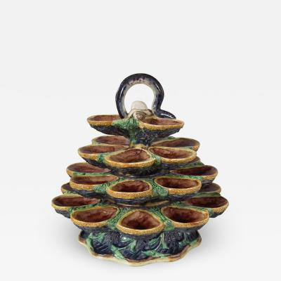 French Palissy Majolica Oyster Stand