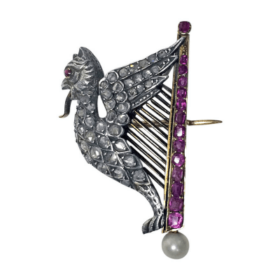 French Pearl Ruby Diamond Gold Griffin and Harp Brooch