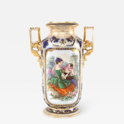 French Porcelain Decorative Vase Side Handles