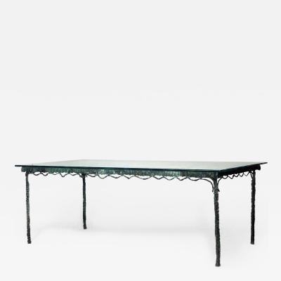 French Post War Design Verdigris Patinated Bronze Rectangular Dining Table