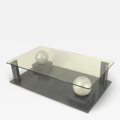 French Post War Geometric Glass Coffee Table